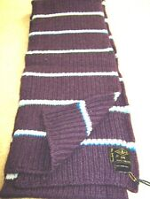 Mens Designer Paul Smith Purple White Striped warm Chunky knit Ribbed Long Scarf