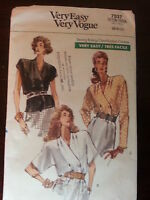 Misses Blouse Size 6, 8, 10 Vogue Sewing Pattern #7537 New UC 1989