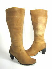 ECCO WOMENS SCULPTURED 65 MM TALL BOOT AMBER LEATHER EUR 35 US 4-4.5 MEDIUM (B)M