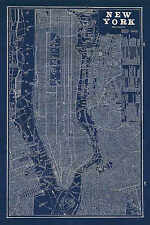 Blueprint Map New York Sue Schlabach United States City Maps Print Poster 24x36