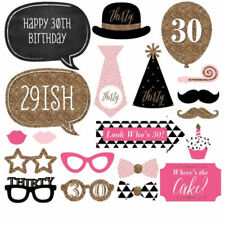 20pcs 30th Birthday Party Photo Booth Props Mask Moustache Photography DIY Stick