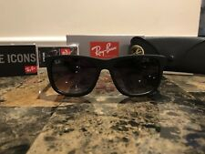 Ray-Ban Justin RB4165 Sunglasses Matte Black Frame Grey Gradient Lenses 54mm