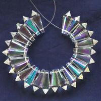 24Pcs/Set Titanium Crystal Agate Druzy Quartz Geode Stone Pendant Bead D7593