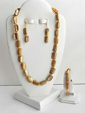 NEW AMBER MOTHER OF PEARL NECKLACE, BRACELET & EARRINGS 4 PIECE JEWELRY SET