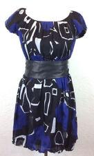 #S31 Theory Petite S Azuri Acute 100% Silk Belted Bubble Dress Blue Geometric
