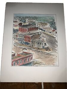 Constance Powell Hand Colored Etching: Michigan Lafayette Griswold Detroit 1870