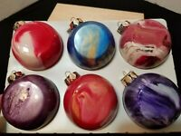 RARE VINTAGE SET OF 6 BLOWN GLASS SWIRL COLORS ROUND FLAT CHRISTMAS ORNAMENTS