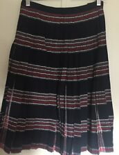 Vintage Reversible Pleated Plaid Skirt 100% Wool Black Red Women's size 6 8