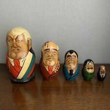 "Vintage Russian Soviet Leaders Nesting Cup Dolls 5 pcs 6"" Gorbachev Ussr Leaders"