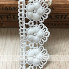 2 Yards White Crochet Polyester Lace Trim Flower Embroidery Ribbon Sewing 3.5cm