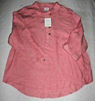 Sigrid Olsen Women's Woven Linen Long Sleeve Tunic Blouse Boho Top Shirt