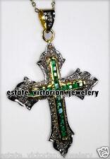 Victorian Religion Cross Pendant Jewelry 2.75cts Rose Cut Diamond Emerald Silver