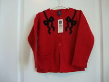 Baby Gap Holiday Red Cardigan Sweater with Black Bows Girl Size 4T 4 years NWT