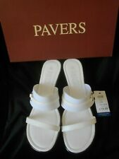 """""""PAVERS"""" WHITE MULES SANDALS SLIP-ON SHOES SIZE 6 BRAND NEW IN BOX RRP: £29.99!!"""