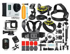 Gopro hero 3 серебряный издание камера +40 штук аксессуар + водонепроницаемый чехол + пульт дистанционного управления