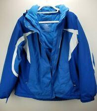 LL Bean Coat Jacket Ski Parka  Blue White Nylon Hooded SZ 1X