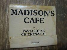 216 Madison's Cafe Pasta Steak Chicken American Italian Vintage Matchbook