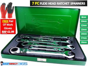 7 Piece Flexi Head Ratchet Combination Spanners Sizes 8-17mm Head 8-14