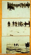 3 rppc FOOTBALL GAME padded pants leather helmets Running Game Photo Postcards