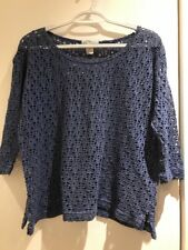 EXPRESS TRICOT SEE THROUGH TOP Sz Small Blue