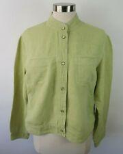 J Jill Womens Linen Blend LS Snap Button Down Pastel Green Blouse Shirt Large