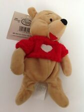 "Disney Winnie The Pooh Red Sweater Plush 7"" Stuffed Beanbag Toy Collectible"