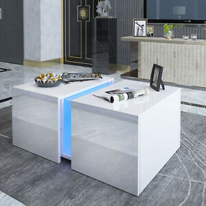 High Gloss Coffee Tea Table w/ Blue Light Living Room Lounge Hide Inside Storage
