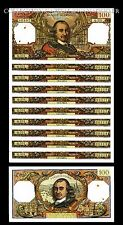 100 Francs Corneille Série de 10 numéros suivant 90307 à 90316 SPL 6/4/67