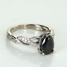 0.80ct Black Diamond Cocktail Ring Estate 14k White Gold Pre Owned Jewelry