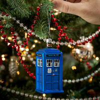 NEW Dr Doctor Who TARDIS 4.25 Inches Tall Hand Crafted Glass Christmas Ornament