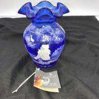 "Fenton Art Glass 5"" Cobalt Blue Vase, Hand Painted, A Mary Gregory Design"