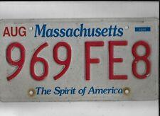 """MASSACHUSETTS passenger license plate """"969 FE8"""""""