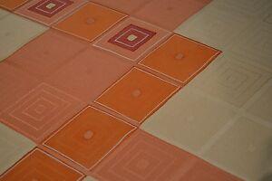 Japanese Silk Fabric White and Peach / Orange with Geometric Design 1241