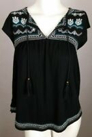 HOLLISTER Women's Top Extra Small XS Black Sleeveless Embroidered Beaded V-Neck