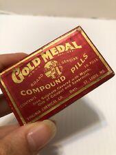 Antique Original Gold Medal Compound Pills Box Vintage Medicine 1940's