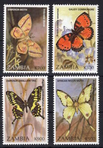 Zambia - Butterflies Insects   on postage stamps  MNH** - Del.8