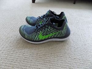 NEW WOMENS 7 NIKE FREE 4.0 FLYKNIT RUNNING SHOES GRAY WHITE GREEN 717076 007