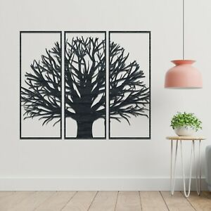 060 Amazing Tree 3 panels Stained Wooden Modern Hanging Wall Art Decor