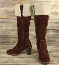 Wild Diva Fashion Boots Brown White Faux Fur Suede Womens Size 8 High Heels