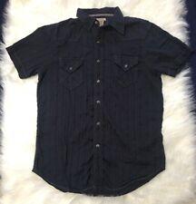 VTG The Original Arizona Jean Company Men's Dark Blue Button Up Pearl Snap Sz S