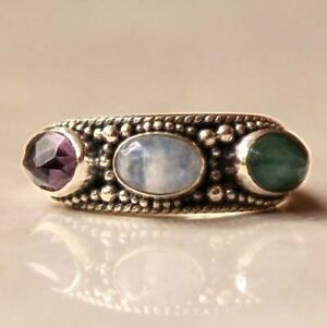 Emerald, Moonstone and Amethyst Ring BY Designer, Nice handmade 925 silver ring!
