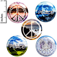 "Peace 5 Pack Buttons Backpack Pin No War Hippie Badge Pinback 1"" #E1"