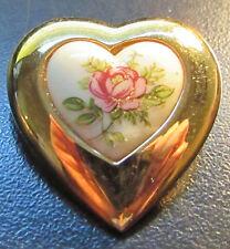 D'Orlan Dorlan ( Boucher ) Gold P Ceramic White Rose Flower Heart Brooch Pin