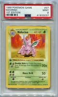 Pokemon Card 1st Edition Shadowless Nidorino Base Set 37/102, PSA 9 Mint