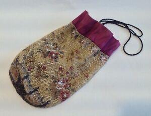 Beautiful Antique Embroidered 19thc micro Beadwork, Needlework Bag.