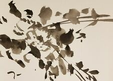 JOSE TRUJILLO - Impressionism INK WASH ORIGINAL 9X12 Still Life With Leafs