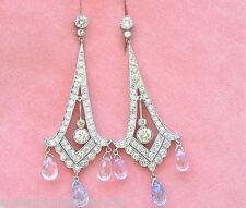 ART DECO 4ctw DIAMOND 8ctw BLUE PINK SAPPHIRE BRIOLETTE CHANDELIER LONG EARRINGS