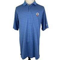 Pinehurst No. 2 Nike Golf Polo Shirt 2XL XXL Blue White Striped DriFit S/S