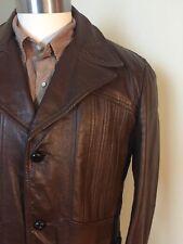 Vtg 70's Mens BROWN Jacket LEATHER Sport Coat Butterfly Collar Blazer 42