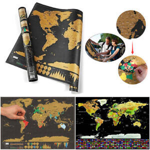 Deluxe Travel World Scratch off Black Map - Map where you have Travelled Poster